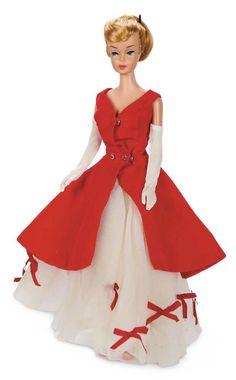 "The Fabulous Fifties - Modern Dolls: 392 Blonde Side-Swirl Ponytail Barbie in ""Benefit Performance"" Ensemble by Mattel Dark Brunette, Ash Blonde, Vintage Barbie, Vintage Dolls, Platinum Hair Color, Leg Painting, Auburn Red, Color Swirl, Red Swimsuit"