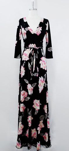 Beautiful casual surplice cut dress with soft aspen rose florals -- perfect for #Spring ==
