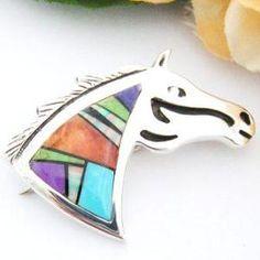 Southwestern Fine Intarsia Inlay Horse Head Pin Pendant Native American Jewelry Navajo Ervin Hoskie