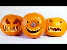 How to Carve Halloween Pumpkins. How to makecarve pumpkin ideas ready for Halloween. This video shows you five great pumpkin related tips for you to try this Halloween. Carve your Jack-o-lantern to another level! Includes: How to make pumpkin teeth and Halloween Tags, Halloween Pumpkin Images, Scary Pumpkin, Pumpkin Faces, Halloween Ghosts, Halloween Crafts, Happy Halloween, Halloween Decorations, Pumpkin Ideas