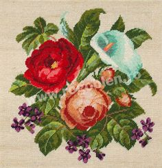 Cod produs Cala si trandafiri Culori: 23 Dimensiune: 16 x Pret: lei Rubrics, Pansies, Cross Stitch Embroidery, Berries, Bouquet, Knitting, Floral, Flowers, Projects