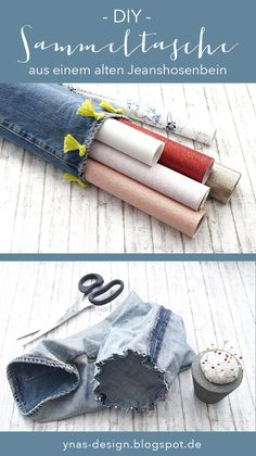 Utensilo for paper rolls Upcycling jeans. A trouser leg is used to roll a utensil for wrapping paper. Source by ynasdesign Diy Upcycled Art, Recycled Crafts Kids, Diy Photo, Diy Kleidung Upcycling, Diy Upcycling Jeans, Upcycled Furniture Before And After, Furoshiki, Fleurs Diy, Diy Accessoires