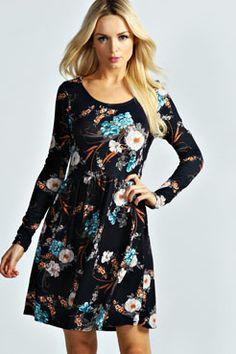 Kelly Floral Print Long Sleeve Skater Dress at boohoo.com