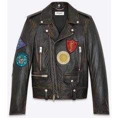 Classic Multi-Patch Motorcycle Jacket in vintage black Leather ($4,875) ❤ liked on Polyvore featuring outerwear, jackets, distressed motorcycle jacket, distressed leather jackets, vintage motorcycle jacket, leather jackets and leather motorcycle jacket