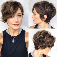"Long Curly Pixie with Subtle Highlights One of our favorite short shag haircuts is actually a ""long,"" wavy pixie style. The slightly longer length allows the curls to come to full fruition. Short Shag Hairstyles, Hairstyles Haircuts, Pretty Hairstyles, Wedding Hairstyles, Easy Hairstyle, Short Curly Hair, Short Hair Cuts, Curly Hair Styles, Wavy Pixie Haircut"