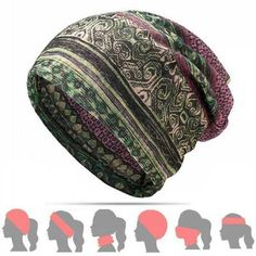 f958488809604 Womens Cotton Ponytail Beanie Hat Vintage Print Beanie Hats Outdoor For  Both Hats And Scarf Use