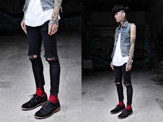Topshop Diy Skinny, Uniqlo Sock, Levi's Vintage Vest, Uniqlo Diy Top, While Black Shoes