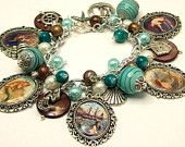 Vintage Mermaids Charm Bracelet Beaded Chunky Altered Art Picture Charms Beads Ocean Beach Sea