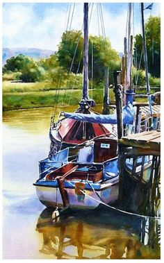 Skippool creek boats - Original Fine Art for Sale - © Graham Berry Watercolor Landscape, Watercolor Paintings, Watercolor Ocean, Watercolours, Link Art, Watercolor Sketchbook, Boat Art, Boat Painting, Nautical Art