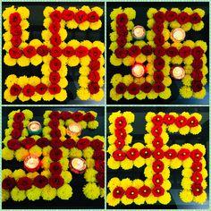 Beautiful Swastik flower rangoli Rangoli Designs Flower, Small Rangoli Design, Rangoli Designs Diwali, Flower Rangoli, Beautiful Rangoli Designs, Diwali Decorations At Home, Festival Decorations, Flower Decorations, Diwali Candles