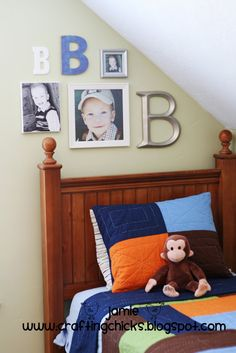 Monogram Wall; so cute over each of the boys' beds!
