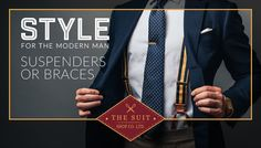 The Suit Shop Co. offers suits for weddings, business or any social event. Made To Measure Suits, Windsor Ontario, Shirt Tucked In, Suit Shop, Social Events, Modern Man, Wedding Suits, Suspenders, Braces