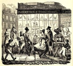 A crowd gathers at a pastrycook and confectioner's shop window displaying a monstrous twelfth-cake that seems to be topped with figures of a king and queen. Some troublemakers have tied the clothes of two onlookers together – a clue as to the kind of mischief that caused Queen Victoria to end Twelfth-Night celebrations. Hilarious account from 1825: http://www.hymnsandcarolsofchristmas.com/Text/Hone/january_6__epiphany.htm