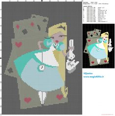 Alice with cards cross stitch pattern