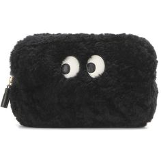 Anya Hindmarch Ghost Shearling Makeup Pouch ($675) ❤ liked on Polyvore featuring beauty products, beauty accessories, bags & cases, black, clutches and anya hindmarch