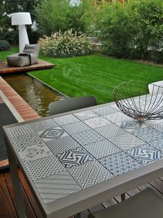 Tiled outdoor table, Made a Mano, ᔥ EgetRom.no