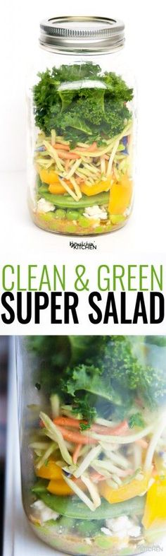 Super Salad - a great recipe for people who don't love salads. This clean eating mason jar salad is easy to prepare and is super yummy with the tangy vinaigrette. | thebewitchinkitchen.com