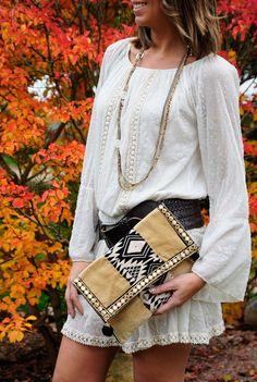 white off boho dress ethnic accesories boho dress boho necklace ethnic clutch. The Amity Company