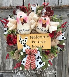 Rooster Decor, Chicken Decor, Rooster Wreath by Ba Bam Wreaths Western Wreaths, Country Wreaths, Summer Door Wreaths, Holiday Wreaths, Spring Wreaths, Fabric Wreath, Burlap Wreaths, Wreath Crafts, Wreath Ideas