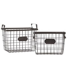 Urban Trends Collection Metal Wire Basket with Mesh Sides, Handles and Card Holders Set of Two Coated Finish Dark Espresso Brown (Metal Basket Coated Finish Brown)