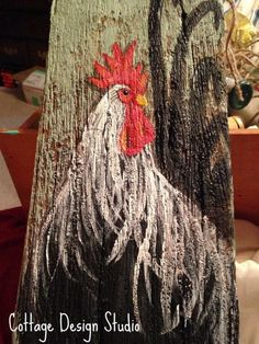 Your marketplace to buy and sell handmade items. Rustic rooster painting rooster wall decor rooster sign Always wanted to learn how to knit, nonetheless not sure where t. Primitive Painting, Rooster Painting, Tole Painting, Painting On Wood, Rooster Art, Chicken Coop Decor, Chicken Crafts, Chicken Art, Chicken Painting