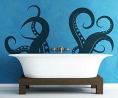 Octopus decal. Really like this idea, but with a purple bathroom.