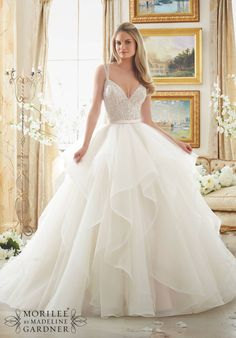 Wedding Dress 2887DAZZLING BEADED BODICE ON FLOUNCED TULLE AND ORGANZA BALL GOWNColors Available: White/Silver, Ivory/Silver, Blush/Silver