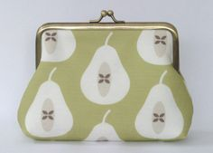 Large Coin Purse in Olive Green Pear by LouiseBrainwood on Etsy, £22.00