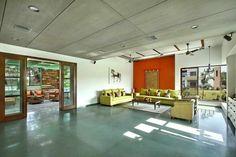 Ajay Patel Residence | Dipen Gada & Associates Hall Interior Design, Stone Interior, Indian Home Design, Indian Home Decor, Kota Stone Flooring, Home Living Room, Living Room Decor, Floor Design, House Design