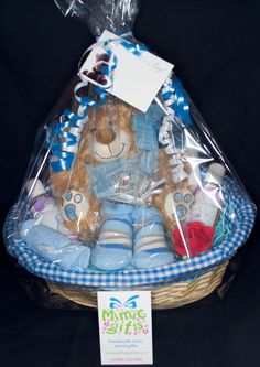 Latest blue newborn baby gift baskets to be sold into the RVS shop at Luton&Dunstable hospital.  Facebook.com/mimicgifts mimicgifts@gmail.com