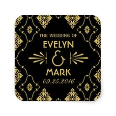 Elegant Vintage Retro Art Deco Style Gold on Black Personalized Wedding Square Favor Stickers / Monogram Stickers, Custom Stickers, Art Deco Wedding Invitations, Vintage Wedding Theme, Wedding Ideas, Wedding Stuff, Monogram Wedding, Personalized Wedding, Wedding Stickers