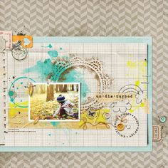 [undisturbed] autumn by Teeshoom, via Flickr...love the masks, ledger paper, doodles, staples, tabs and buttons