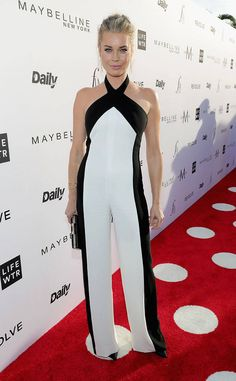 Rebecca Romijn from Fashion Los Angeles Awards 2017: Red Carpet Arrivals  We're always fans of a chic jumpsuit, and Rebecca's black and white number is no exception.