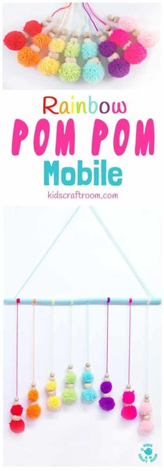 DIY RAINBOW POM POM MOBILE – brighten up your baby nursery, kids bedrooms or add a splash of colour to your living area with this cute and easy pom pom craft. A super way to use up yarn scraps. Pom Pom Crafts, Yarn Crafts, Homemade Crafts, Crafts To Make, Homemade Mobile, Diy For Kids, Crafts For Kids, Pom Pom Mobile, Diy Girlande
