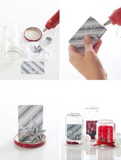 Cute way to wrap gift cards, instead of a plain envelope make your own snow globe!