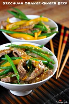 Szechuan Orange Ginger Beef - RecipeGirl.com - this looks delicious! Have to try this one!