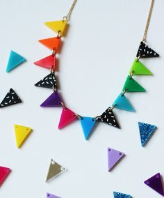 Hand make your own Bunting Necklace at a Brick Lane jewellery making workshop - now with the addition of printed bunting pieces! > http://www.tattydevine.com/workshops
