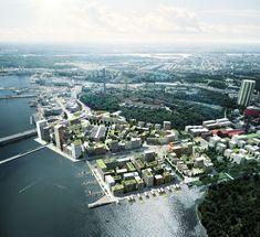 ADEPT and Mandaworks Design Masterplan for Stockholm's Royal Seaport #render #outdoor #masterplan