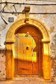 Golden Yellow Archway with Matching Door in El Jadida, El Jadida, Morocco by Beum เบิ้ม Cool Doors, Unique Doors, The Doors, Windows And Doors, Door Knockers, Door Knobs, Moroccan Doors, Yellow Doors, Door Gate