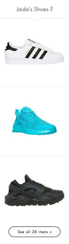 """""""Jaida's Shoes 😁"""" by thetotefamily ❤ liked on Polyvore featuring shoes, sneakers, white, white leather sneakers, perforated shoes, white leather shoes, leather trainers, perforated sneakers, athletic shoes and blue"""