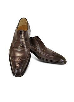 A.Testoni+Men's+Coffee+Brown+Wingtip+Oxford+Shoes