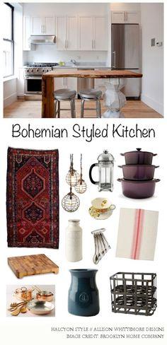 bohemian kitchen styling | Halcyon Style