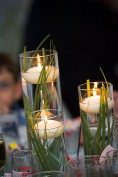 Floating candles in grass ..... Very inexpensive