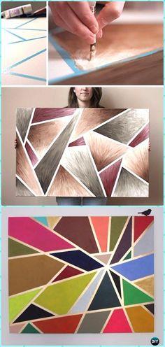 DIY Geometric Tape Painting Canvas Art Instruction - DIY Canvas Wall Art Ideas Tutorials