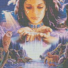 Free Native American Cross Stitch Patterns and Designs | Native American Girl Cross Stitch Pattern Chart