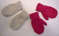 Knitted mitts for little ones. Knitted flat on two needles.