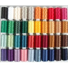 #10: Polyester Embroidery Thread Set - 40 Spools (500 meter spools/40 wt.) - Set A Vibrant Colors.