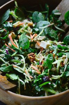 Broccoli Kale Spinach Salad relucantentertainer.com