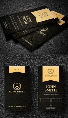 Elegant Black and Gold Business Card Templates Luxury Business Cards, Black Business Card, Modern Business Cards, Business Card Design, Compagnie Logo, Visiting Card Design, Name Card Design, Bussiness Card, Print Templates