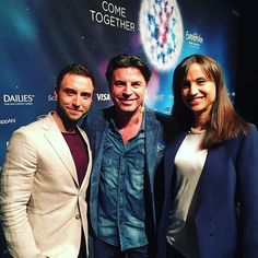 Our fantastic hosts of the ESC, Måns Zelmerlöw & Petra Mede came to see me in the press centre today. Watch conference on SVT Play or Eurovision.tv  #sweden #stockholm #esc2016 #eurovision #escse #månszelmerlöw #petramede